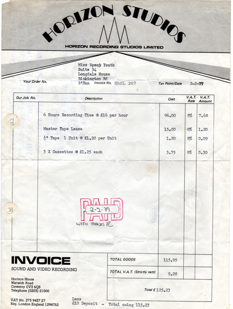Horizon Studios Coventry Invoice For Misspent Youth Recording Session 1979
