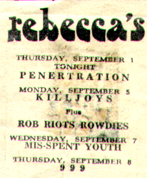 Rebeccas advert 1977 punk Misspent Youth