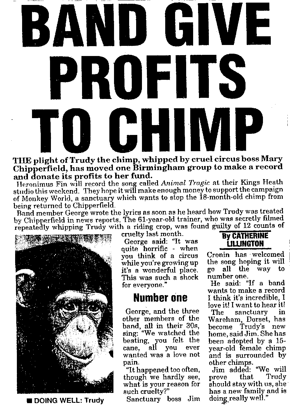 Heronimus Fin Trudy Abused Chimp Record